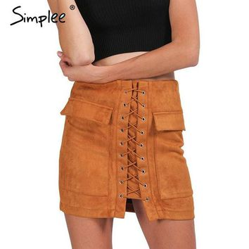 DCCKWQA Simplee Apparel Autumn lace up suede leather women skirt 90's Vintage pocket preppy short skirt Winter high waist casual skirts