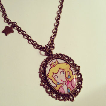Princess Peach Cameo Necklace by RabbitJewellery on Etsy
