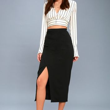 Sweet Darling Black Bodycon Midi Skirt