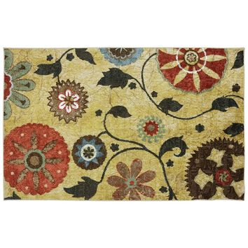 Mohawk Home Yellow Medallion Floral Indoor Outdoor Rug - 5' x 8'