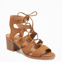 Sueded Gladiator Heeled Sandals for Women | Old Navy
