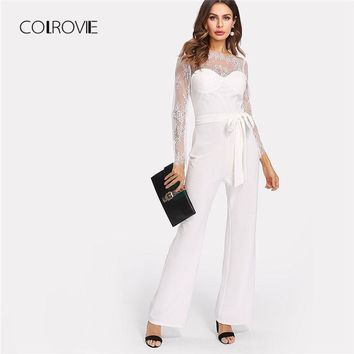 COLROVIE Self Belt Lace Overlay Bustier Jumpsuit White Floral Elegant 2018 Ladies Boat Neck Long Sleeve High Waist Jumpsuit