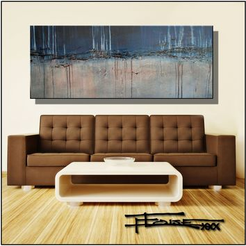 Large Abstract Painting, Modern Canvas fine art, Limited Edition DENIM AND STONE by ELOISExxx
