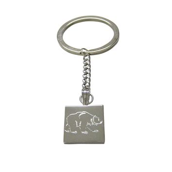 Silver Toned Etched Bear Keychain