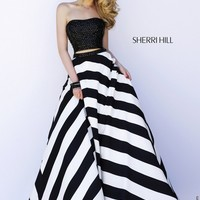 Sherri Hill 32221 Straight Strapless Beaded Crop Top Stripe Skirt
