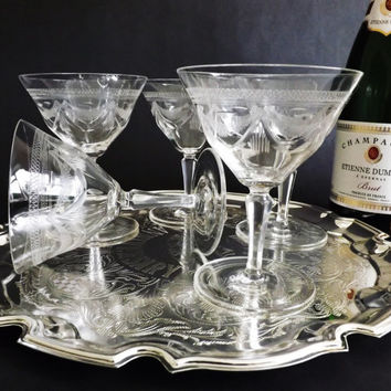 Antique Crystal Champagne Coupes, Etched Champagne Saucer Prosecco Glasses, Pall Mall Glassware, Wedding Toast Stemware, Cocktail Glass