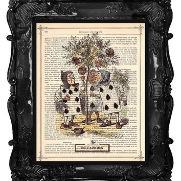 Alice in Wonderland Card Men - Card Men art Print - Alice Home Décor -antique book page music page dictionary print