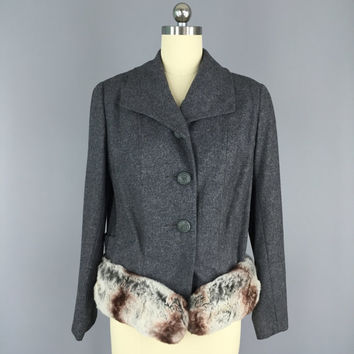 Vintage Jacket / Vintage Blazer / Vintage Coat / Chinchilla Fur Trim / Grey Wool Jacket / Wool Coat / 1950 / Size Small S