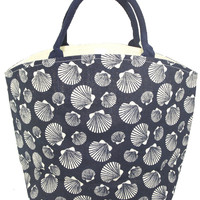 Colorful Seascape Burlap Jute Tote Town City Beach Bag - Navy Scallop