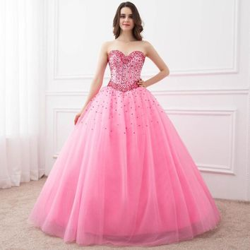 In Stock Ball Gown Quinceanera Dresses Sweetheart Spaking Beads Party Gowns Formal Vestidos Long Prom Dresses for Sweet 16 Years