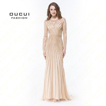 Real Photos Tulle Crystal Color O Neck  Formal Long Prom Dress Long Sleeve Party Occasion OL102871B