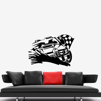 Wall Decal Race Auto Motor Finish Start Car Winner Vinyl Sticker (ed916)