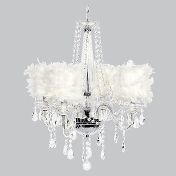 Jubilee Collection 79000-2477 Middleton Four-Light Chandelier with White Feather Drum Shades