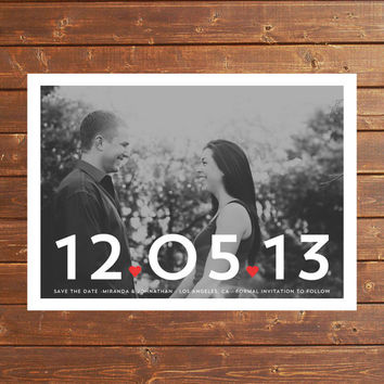 CHIC HEARTS 5x7 Save The Date Photo Digital Invitation Announcement