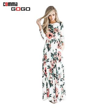 BOHO Beach Dress Casual O Neck Full Sleeve Floral Print Dresses Women Long Maxi Dress Plus Size XXL 2017 Fashion Pleated Robe
