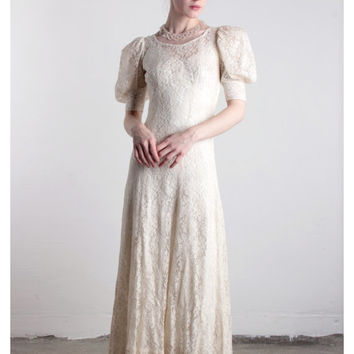 Antique Lace Wedding Gown . Two Piece Chemise and Outer Dress . Early 1900s