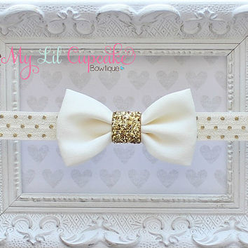 Ivory & Gold Baby Headband - Ivory and Gold Glitter Headband - Gold Polka Dot Headband - Petite Ivory Chiffon Bow - Ivory and Gold Baby Bow