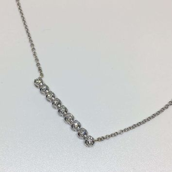Luxinelle Diamond Bar on a Chain Pendant Necklace 14K White Gold 0.20 TCW