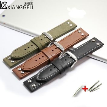 Watch Accessories 20mm Hamilton Studded Leather Strap Pin Buckle For all types of men's and women's leather watch straps