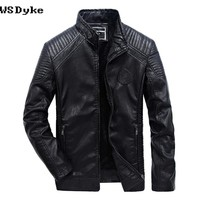 Winter Leather Overcoat Slim Stand Collar Motorcycle Jacket