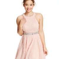 Trixxi Juniors' Jeweled-Waist Soutache Skater Dress