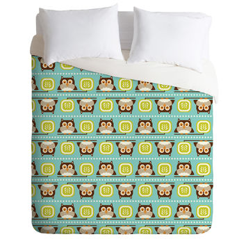 Heather Dutton Owl Town Teal Duvet Cover