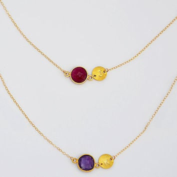 Double Strand Personalized bezel set station gold necklace - Danique Birthstone - Initial, handstamped, mother, mom, grandma, two kids
