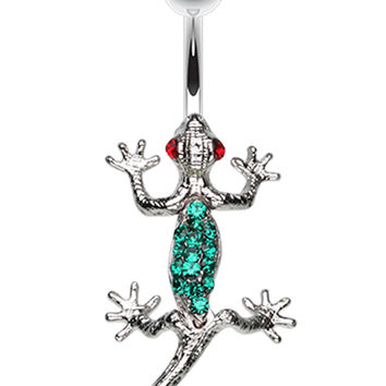 Moving Gecko Lizard Sparkle Belly Button Ring