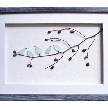 Sea glass art birds, Pebble art, New home house warming gift, Blue birds nursery decor, Birds wall art, Unique birds lover gift, Home decor