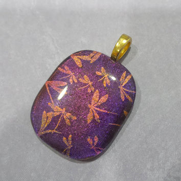 Purple Dichroic Pendant, Orange Dragolflies, Fused Glass Jewelry, Large Gold Bail - Adelise - -5