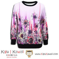 New Flower Art Kawaii Style Printed Round-Neck Sweater Longsleeve Thick Soft Free Size KK666