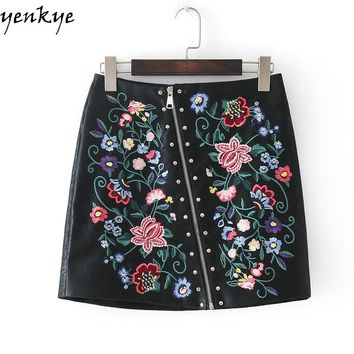 Faux PU Leather Skirts Womens  Floral Embroidery Skirt  Zipper Black A-line Mini Skirt
