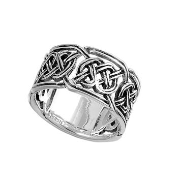 925 Sterling Silver Wiccan Craft Art 12MM Ring