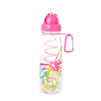 Rainbow Metallic Butterfly Water Bottle with Straw
