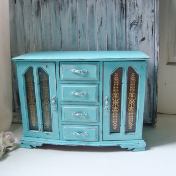 Large Aqua Vintage Jewelry Box, Beach Chic Aqua Blue Wooden Jewelry Chest, Big Jewelry Holder, Shabby Chic Jewelry Box, Gift Ideas