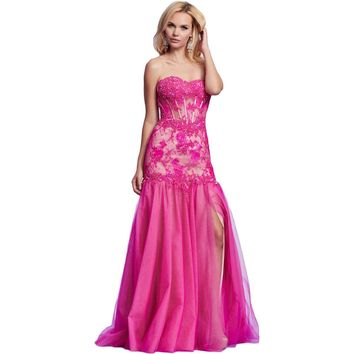 Mac Duggal Womens Lace Strapless Formal Dress