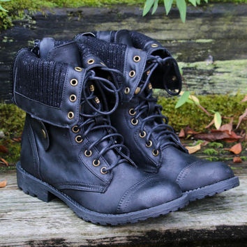 Black Fold Over Lace Up Combat Boots