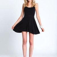 BLACK LATTICE SKATER DRESS