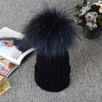 Winter Beanies. 12CM Silver Fox Fur Ball. Fabulous Quality, Warm!
