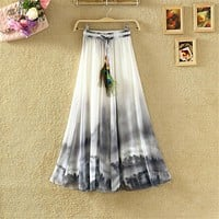 2017 Vintage Maxi Skirts Women Solid Boho Chiffon Saia Longa Summer Vestidos Tulle Casual Bohemian Long Skirts Woman Clothing
