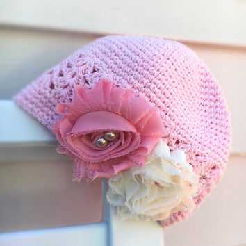 Baby Pink Crochet Hat, Infant Flower Cap, Cream and Pink Floral, Pearls, Size Infant, 1st Photos, FREE SHIPPING, Custom Baby Hats,