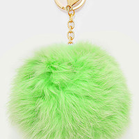 Large Rabbit Fur Pom Pom Keychain, Key Ring Bag Pendant Accessory - Pastel Green