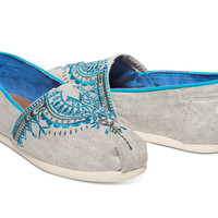 LIGHT GREY CANVAS BEADED EMBROIDERY WOMEN'S CLASSICS