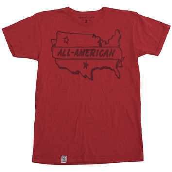 Irontree Clothing All American Men's Tee in Washed Red