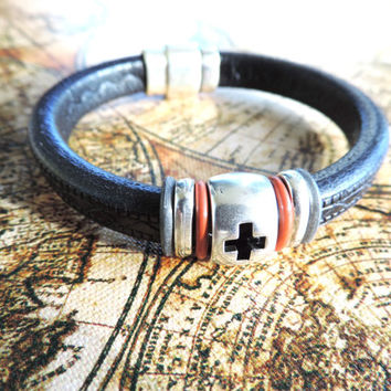Leather Bracelet for Men - Made with Genuine European Leather and Antique Silver Cross Bead - Gifts for Men, Birthday
