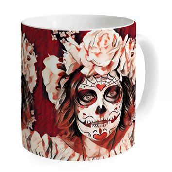 11 oz Ceramic Coffee Mug Terrible Skull Printing Pattern Customized Mug Tea Milk Beer Cups Large Size Water Cups