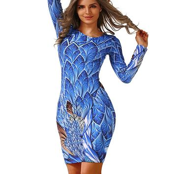 Autumn Long-sleeved Dresses Slim O-neck Retro Print Women Dress Casual Dresses