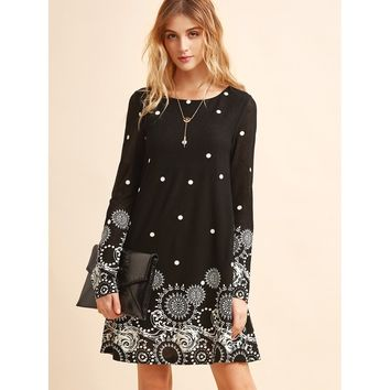 Black And White Retro Circle Polka Dot Print Tunic Dress