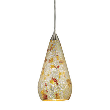 Curvalo 1 Light Pendant In Satin Nickel And Silver Multi Crackle Glass