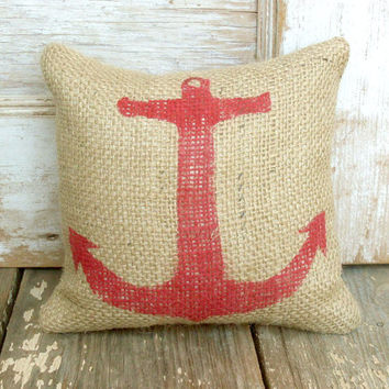 Anchor  - Burlap Feed Sack Doorstop - Nautical  Design
